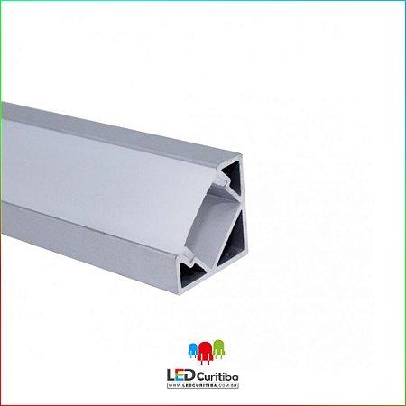 Perfil de LED Embutir ou Sobrepor EKPF33 para forro Canto 45º para Led em Alumínio  Arredondado com bordas para fitas de led 3000k 4000k 5000k 6000k para forro de gesso, forro de drywall, perfil de led para móveis e prateleiras, 12v 24v e 127v e 220v