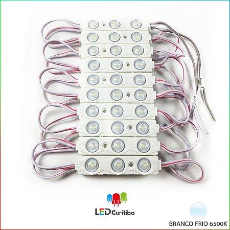 Módulo de 3 Led com lente 7025 Branco Frio 6500k IP67 Interno/Externo 12v 160º