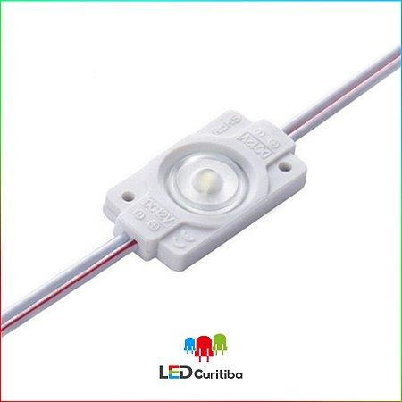 Módulo de 1 LED 12v 0,7 W injetado com Lente 160º Branco Frio 6500k IP67 Externo Interno