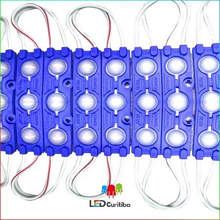 Módulo de 3 Led azul com lente 7025 Azul IP67 Interno/Externo 12v 160º Injetado