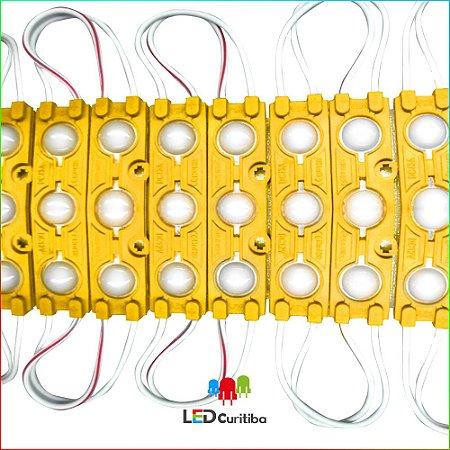 Módulo 3 led com lente 7025 Amarelo IP67 Interno/Externo 12v 160º