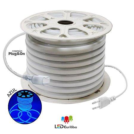 Mangueira de Led Neon Flexível Azul 127v/220v SMD 5050 8W IP66 Interno/Externo