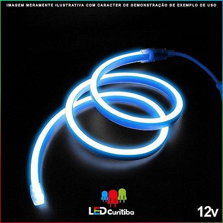Mangueira de Led Neon Flexível Azul 12v SMD 5050 8W IP66 Interno/Externo