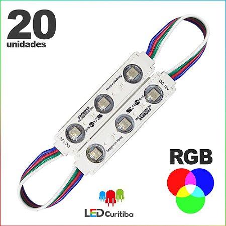 20 Modulo de 3 Led RGB com lente Injetado SMD CHIP 6060 12v IP67 Interno e Externo a Prova d'agua