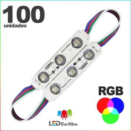 100 Modulos de 3 Led RGB com lente Injetado SMD CHIP 6060 12v IP67 Interno e Externo a Prova d'agua