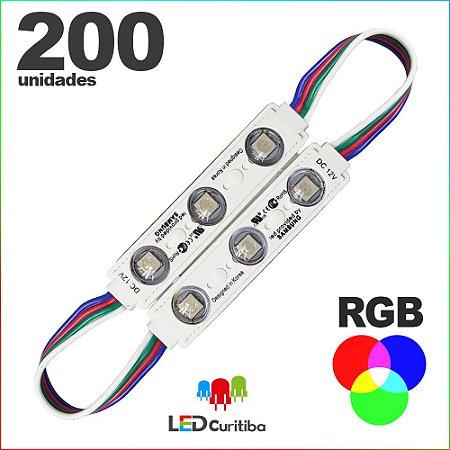 200 Modulo de 3 Led RGB com lente Injetado SMD CHIP 6060 12v IP67 Interno e Externo a Prova d'agua