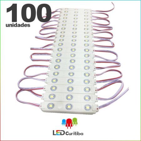 100 Modulo de 3 Led com lente Injetado 0.72w Branco Frio SMD CHIP 3528 6500K 12v IP67 Interno e Externo a Prova d'agua