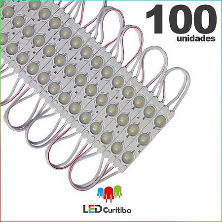 100 Modulo de 3 Led injetado 1.5w Branco Frio SMD CHIP 5050 6500K 12v IP67 Interno e Externo a Prova d'agua
