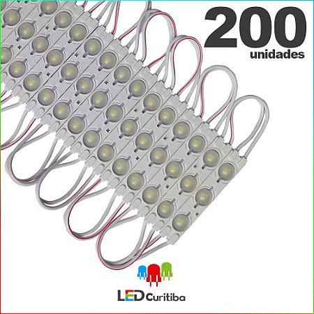 200 Modulo de 3 Led injetado 1.5w Branco Frio SMD CHIP 5050 6500K 12v IP67 Interno e Externo a Prova d'agua