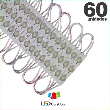 60 Modulo de 3 Led injetado 1.5w Branco Frio SMD CHIP 5050 6500K 12v IP67 Interno e Externo a Prova d'agua