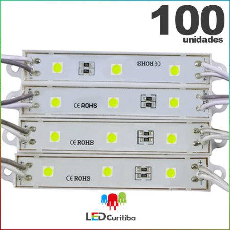 100 Modulo de 3 Led resinado 0.72w Branco Frio SMD CHIP 4040 6500K 12v IP67 Interno e Externo a Prova d'agua