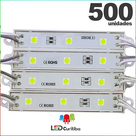 500 Modulo de 3 Led resinado 0.72w Branco Frio SMD CHIP 4040 6500K 12v IP67 Interno e Externo a Prova d'agua