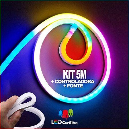 5m Neon LED RGB Colorido Digital DMX 2811 Flexível + Central + Controle + Fonte - iP65 Interno/Externo