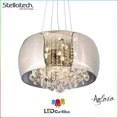 LUSTRE PENDENTE STELLA AGLAIA (50cm) - 6xG9 40W 127v / 220v - 500x210x1500x120 (mm) - Champagne com cristais Translúcidos
