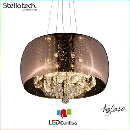 LUSTRE PENDENTE STELLA AGLAIA (50cm) - 6xG9 40W 127v / 220v - 500x210x1500x120 (mm) - Cobre com cristais Translúcidos