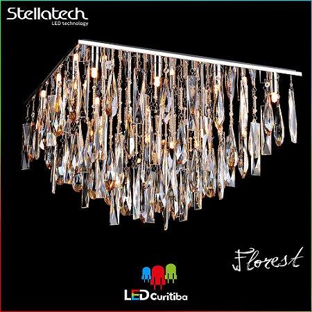 LUSTRE PLAFON STELLA FLOREST (65cm) - 16xG9 40W 127v / 220v - 650x430 (mm) - Alumínio com cristais Translúcidos