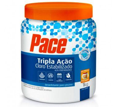 Pote de pastilhas de cloro Tripla ação PACE  1 kg 5 unidades