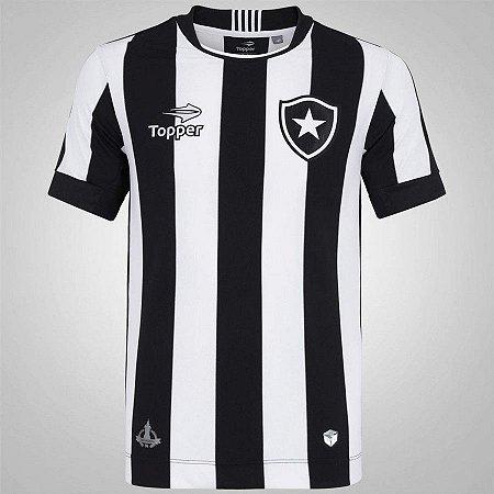 Camisa Botafogo I 2016 Torcedor Topper Masculina Preto e Branco ... 709fd920e5421