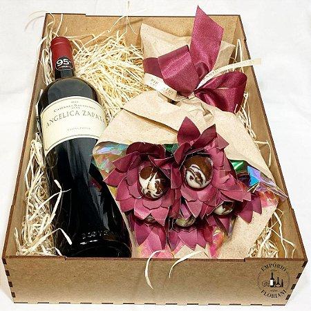 Box vinho e chocolate premium