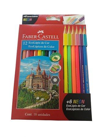 EcoLápis 12 Cores e 6 Neon, Faber-Castell 120112+6N, Grafite
