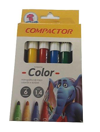 Caneta Hidrográfica 6 Cores Compactor Color