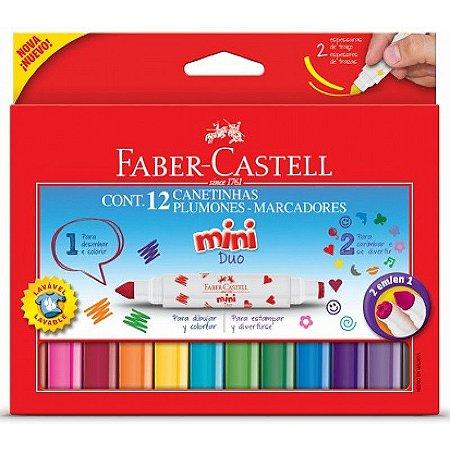 Canetinhas e Carimbo Plumones 12 Mini 2 em 1 Faber Castell DUO150612
