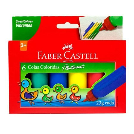 Cola Colorida PlastiPaint 23g 6 Cores - Faber-Castell
