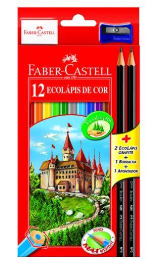 Ecolápis de Cor Sextavado Estojo c/ 12 cores Kit Escolar (Grátis 2 Lápis Preto + 1 Borracha + 1 Apontador)