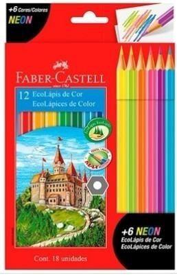 Lápis de Cor 12 Cores + 6 Cores Neon Faber-Castell
