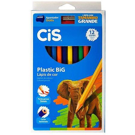 Lápis De Cor 12 Cores Plastic Big Jumbo Cis