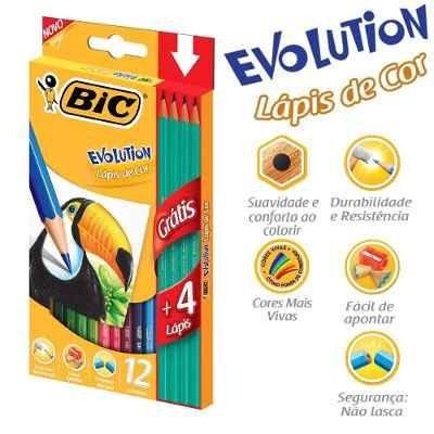 Lápis De Cor Bic Evolution 12 Cores + Brinde 4 Lápis Preto