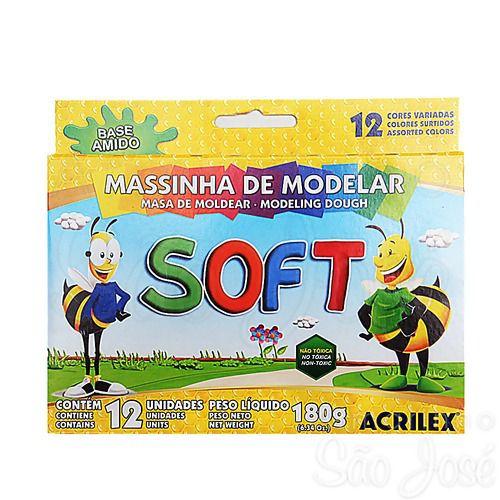 Massinha De Modelar Soft Acrilex Caixa C/12 Unidades