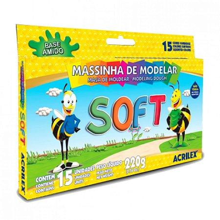 Massinha de Modelar Soft 15 Cores 220g - Acrilex