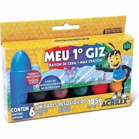 Giz de cera 06 cores meu primeiro giz 09506 Acrilex CX 1 CJ