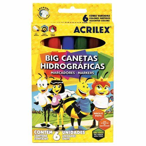 Canetinha Hidrográfica Big Acrilex 6 Cores