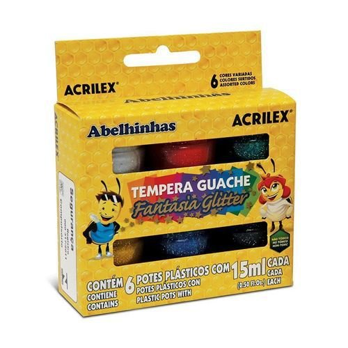 Tinta Guache Fantasia Glitter 6 cores 15ml Acrilex