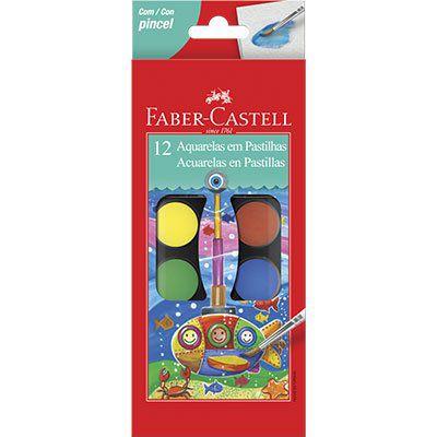 Aquarela em Pastilhas 12 cores  Faber Castell PT 1 UN