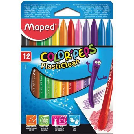 Giz De Cera Gizao 12 Cores Color Peps Plastico Maped