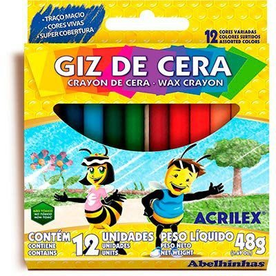Giz de Cera 12 cores Acrilex