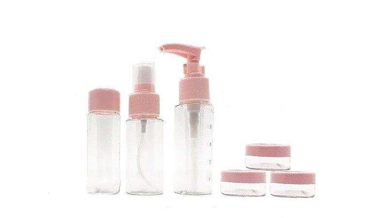 Kit viagem: 6 frascos para shampoo, condicionador, creme