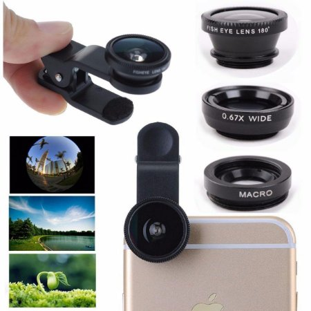 Kit Lentes Celular 3x1 Fisheye+macro+wide P/ Iphone Galaxy