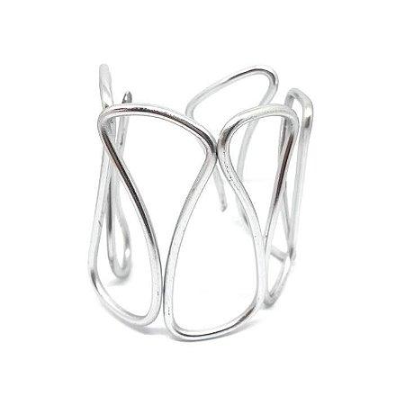 Bracelete Minimal Abstrato Prateado