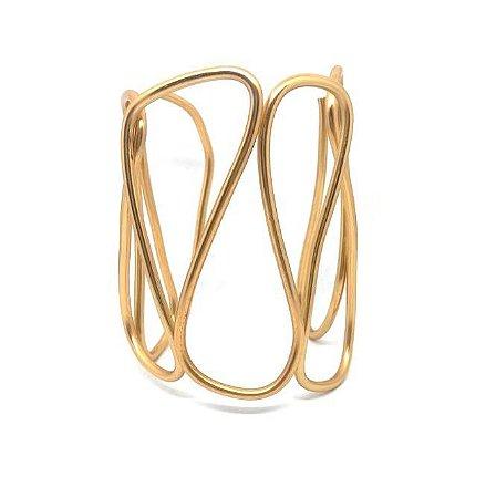 Bracelete Minimal Abstrato Dourado