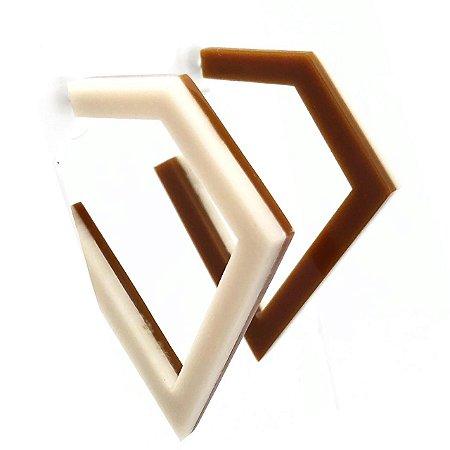 Argola Geométrica Bicolor Off White