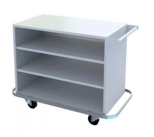 Carro para Transporte de Roupa Limpa em Aço Inox para Lavanderia Hospitalar