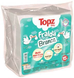 Fralda Branca Topz Baby Pç 15 un