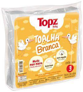 Toalha Branca Topz Baby Pç 3 Un