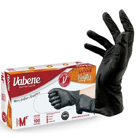 LUVA VINIFLEX VABENE - G - 100UN/BOX -  PRETA