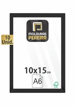 Kit 10 Molduras 10x15 cm só Armação + MDF