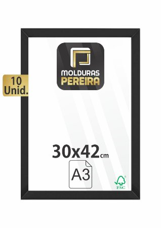 Kit 10 Molduras 30x42 cm só Armação + MDF